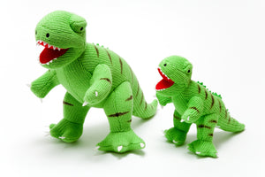 Knitted Medium Green T-Rex Toy