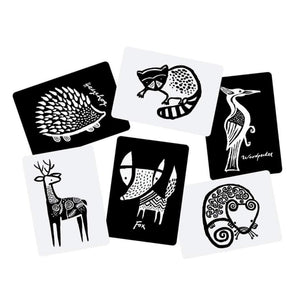 Wee Gallery Black & White Art Cards - Woodland Animals