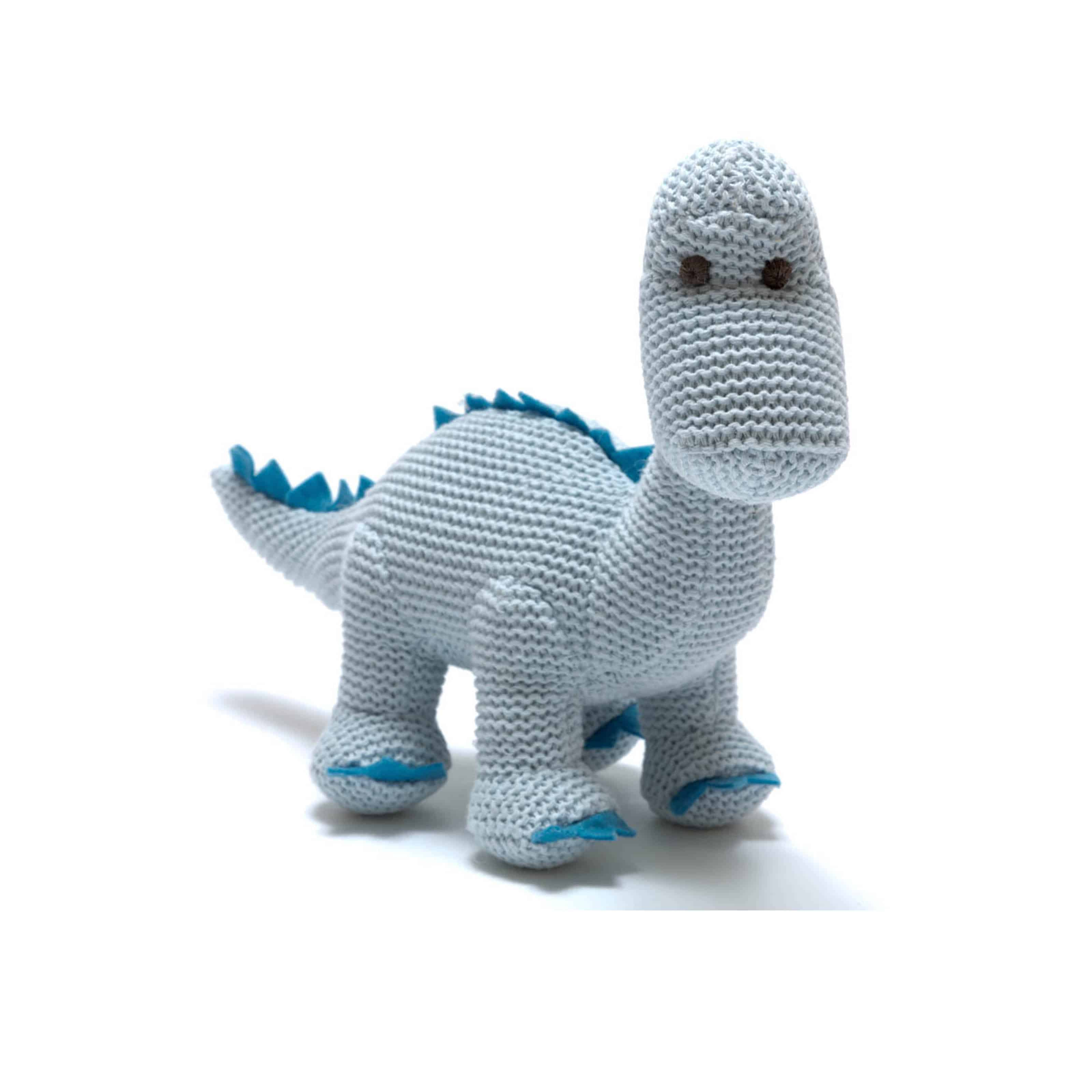 Knitted Organic Blue Diplodocus Rattle