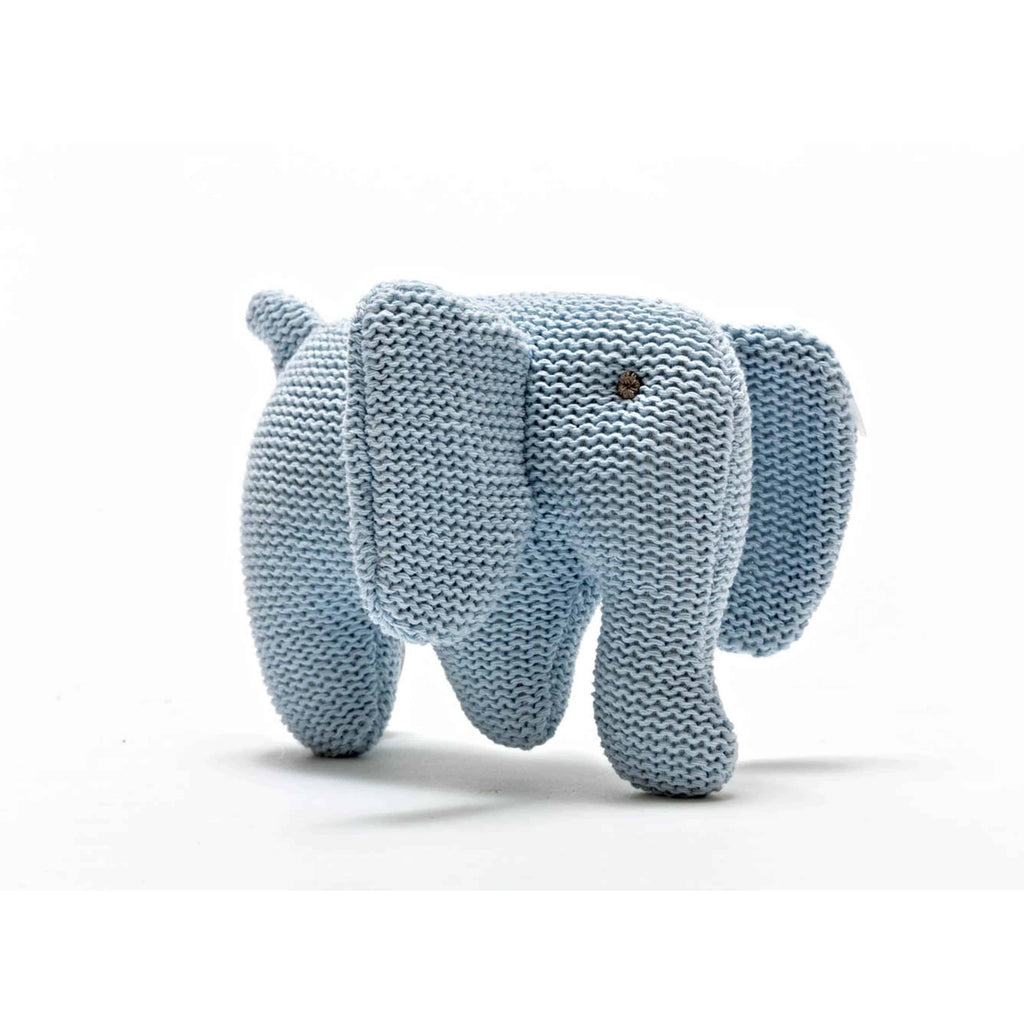 Knitted Organic Elephant Rattle - Blue