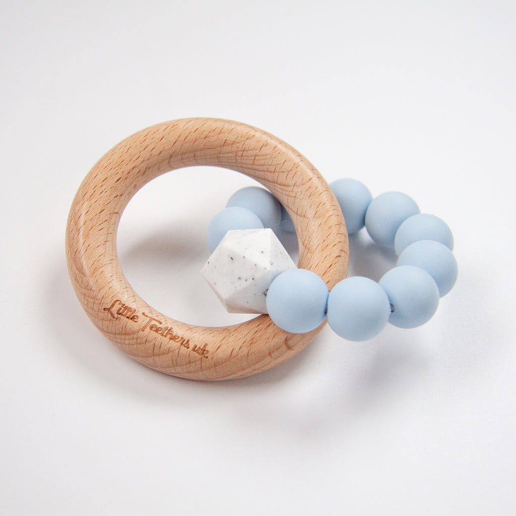 Little Teethers Wood Silicone Ring Rattle / Teether - Blue
