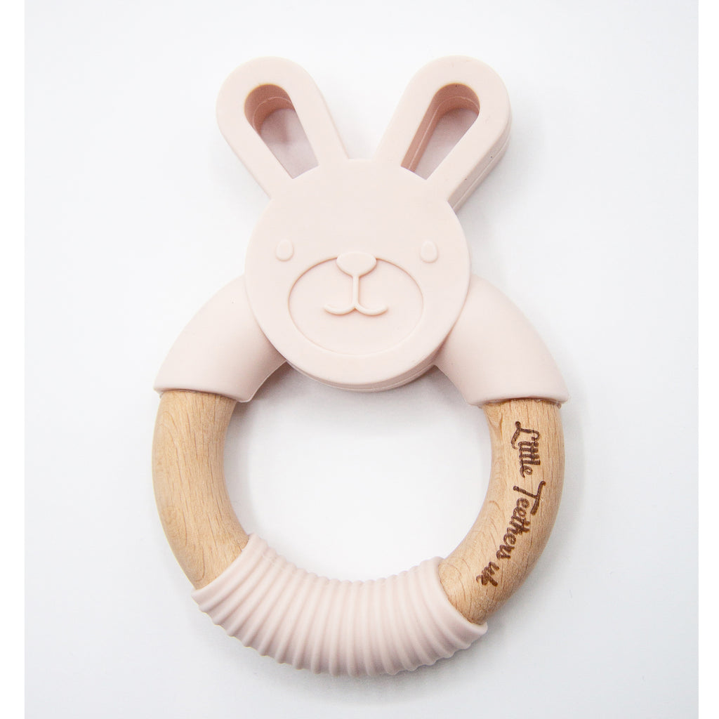 Little Teethers Rabbit Beechwood Silicone Teether - Blush