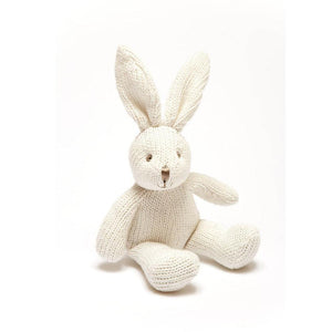 Knitted Organic Cotton White Bunny Rattle