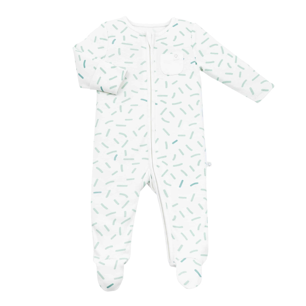 Baby Mori 'Dream in Green' Zip up Sleepsuit