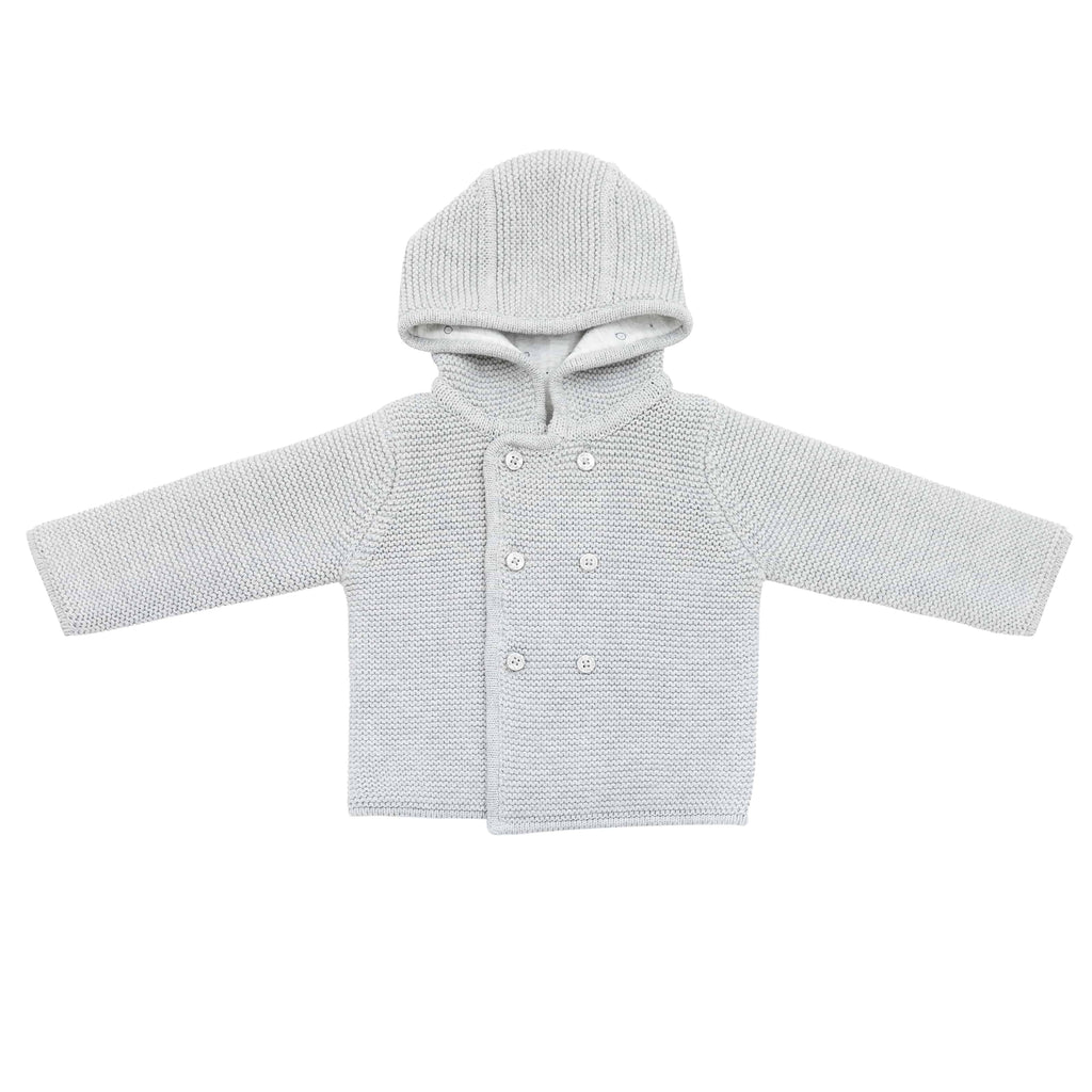 Baby Mori Grey Knitted Coat with Hood