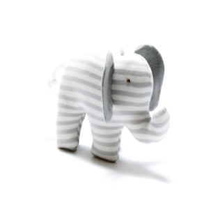 Organic Cotton Super Soft Elephant Toy - Grey Stripe