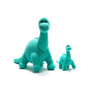 Knitted Ice Blue Diplodocus Rattle Toy