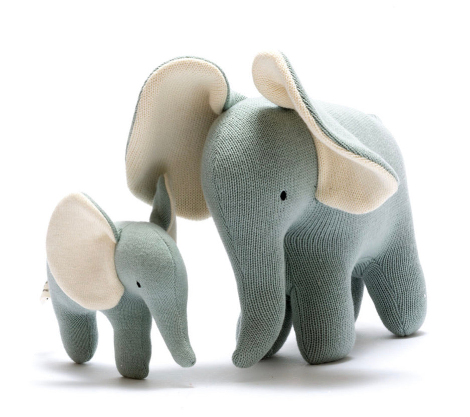 Knitted Small Teal Organic Cotton Elephant