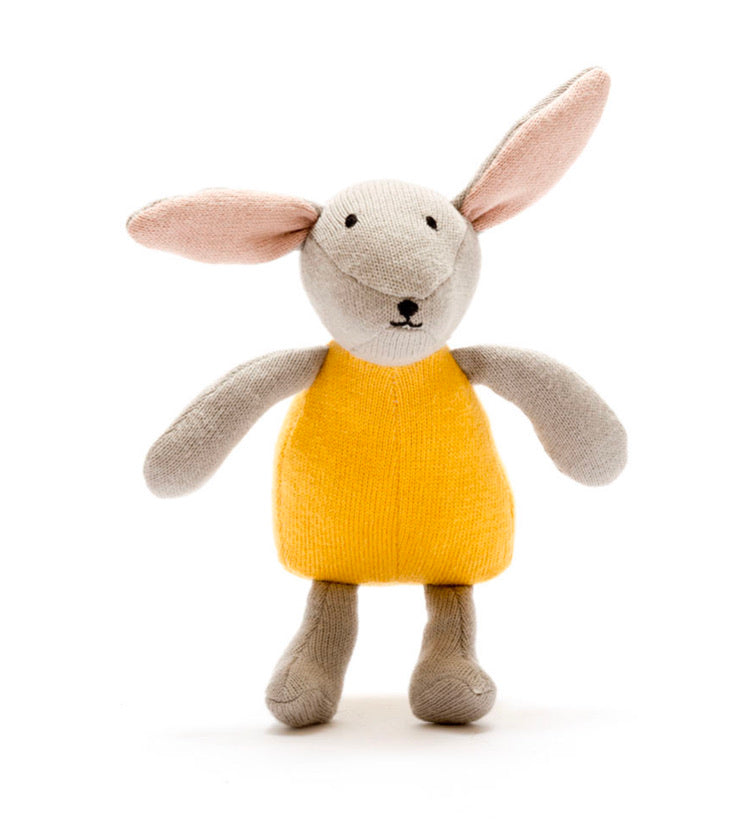Knitted Mustard Organic Cotton Bunny