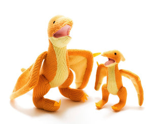 Knitted Pterodactyl Orange Small Rattle