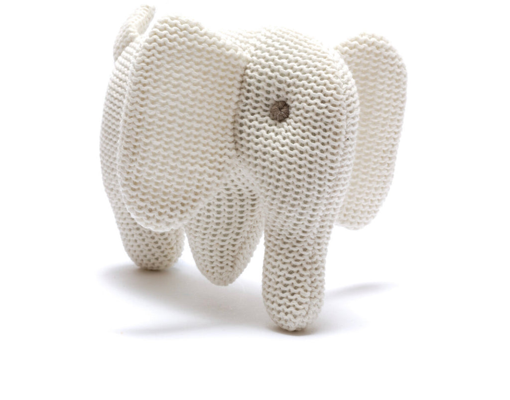 Knitted Organic Elephant Rattle - White