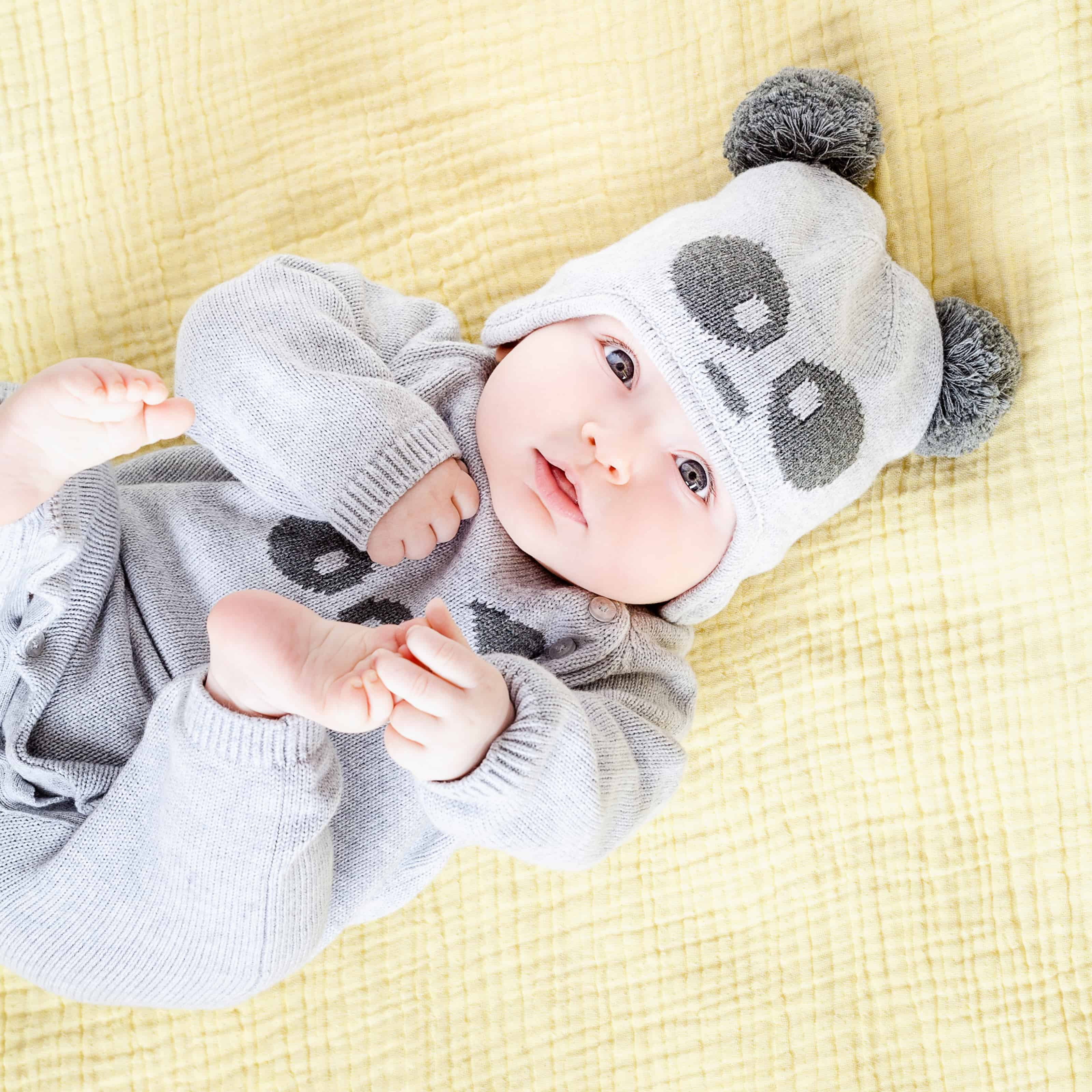 Baby Mori Grey Knitted Panda Hat
