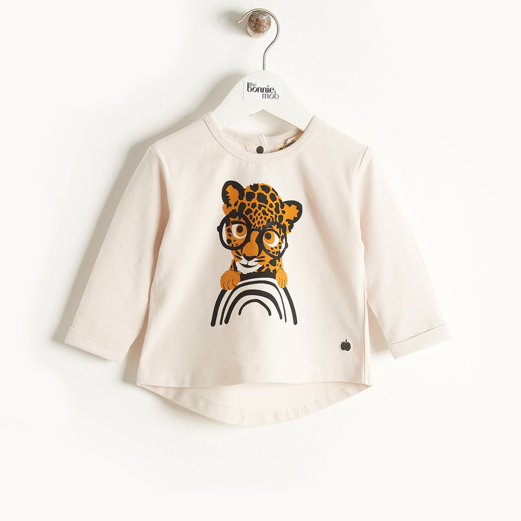 Bonnie Mob Organic Cotton Long Sleeve Kids T-Shirt - Sand Leopard