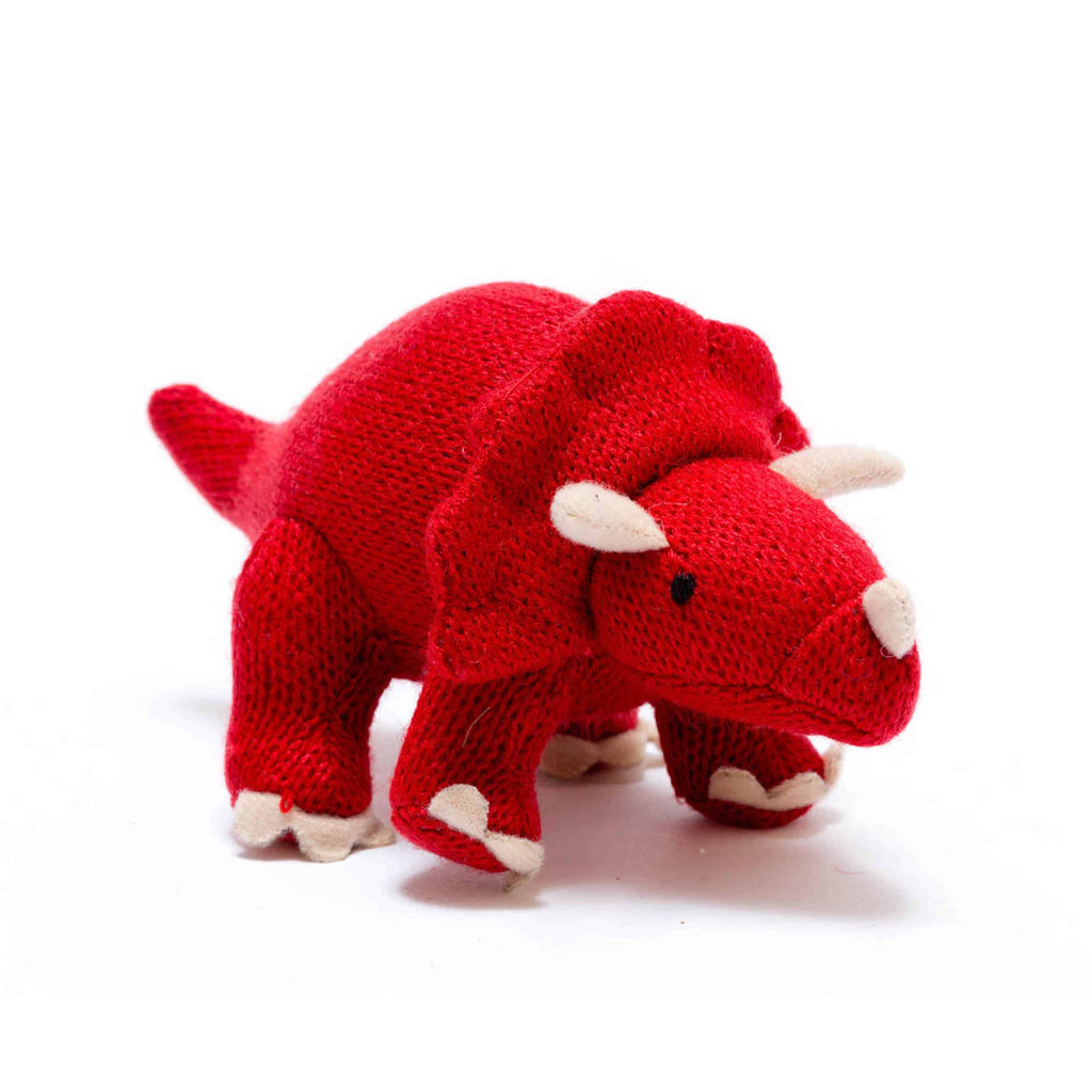 Knitted Red Medium Triceratops Toy