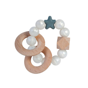 Nibbling Natural Wood Teething Rattle Toy - Pearl