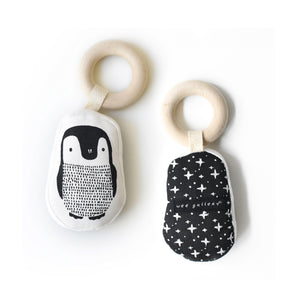 Wee Gallery Penguin Teether - Organic Cotton with Wooden Ring