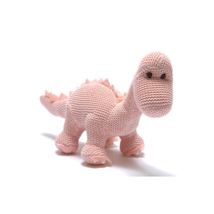 Knitted Organic Pink Diplodocus Rattle