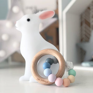 Little Teethers Wood Silicone Ring Rattle / Teether - Pastel Rainbow