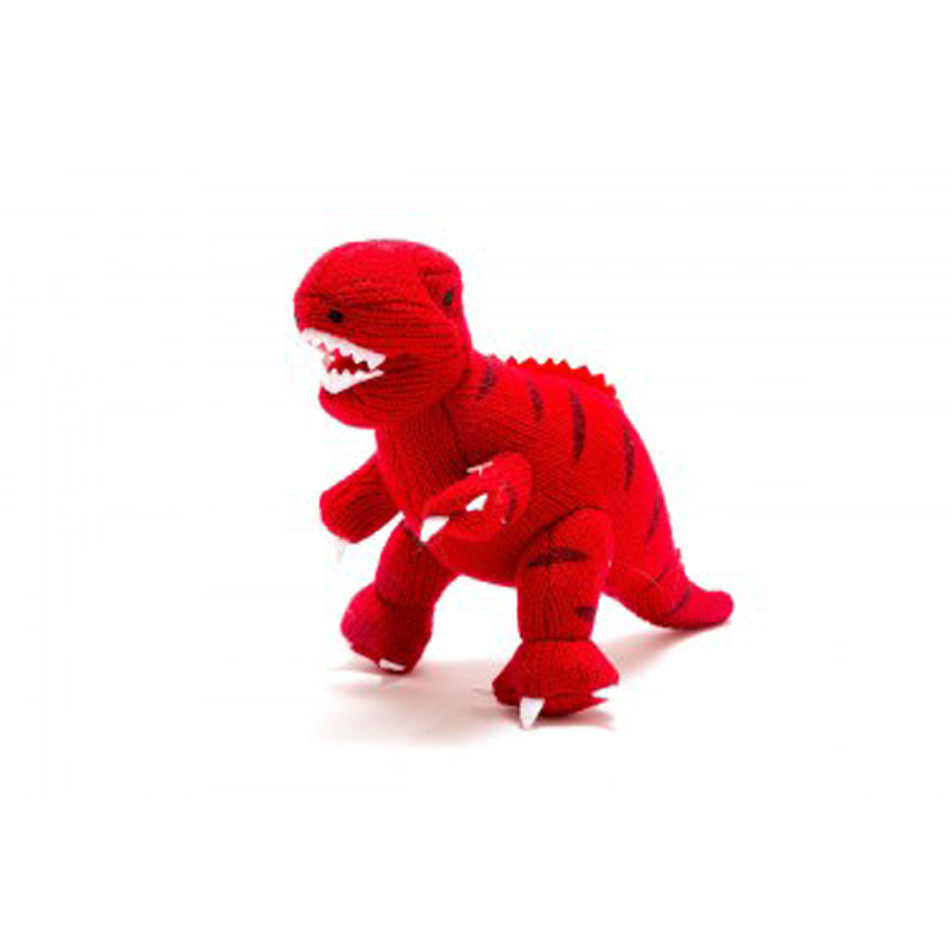 Knitted Red T-Rex Rattle Toy
