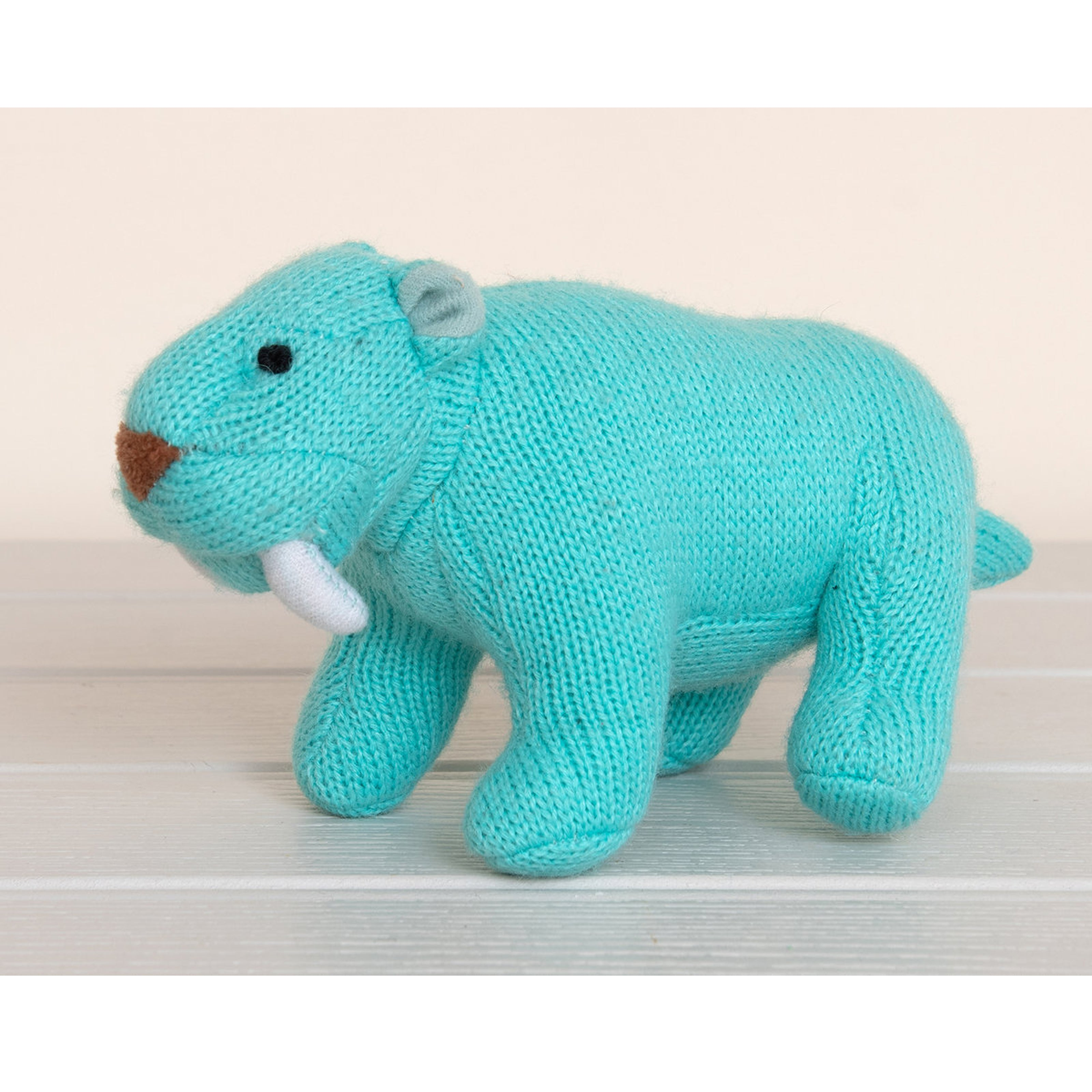Knitted Ice Blue Sabretooth Tiger Rattle Toy