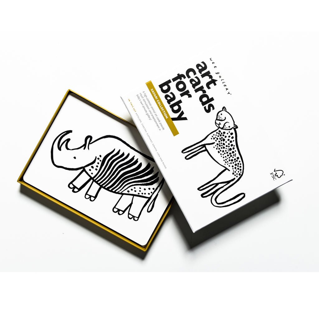 Wee Gallery Black & White Art Cards - Safari Animals