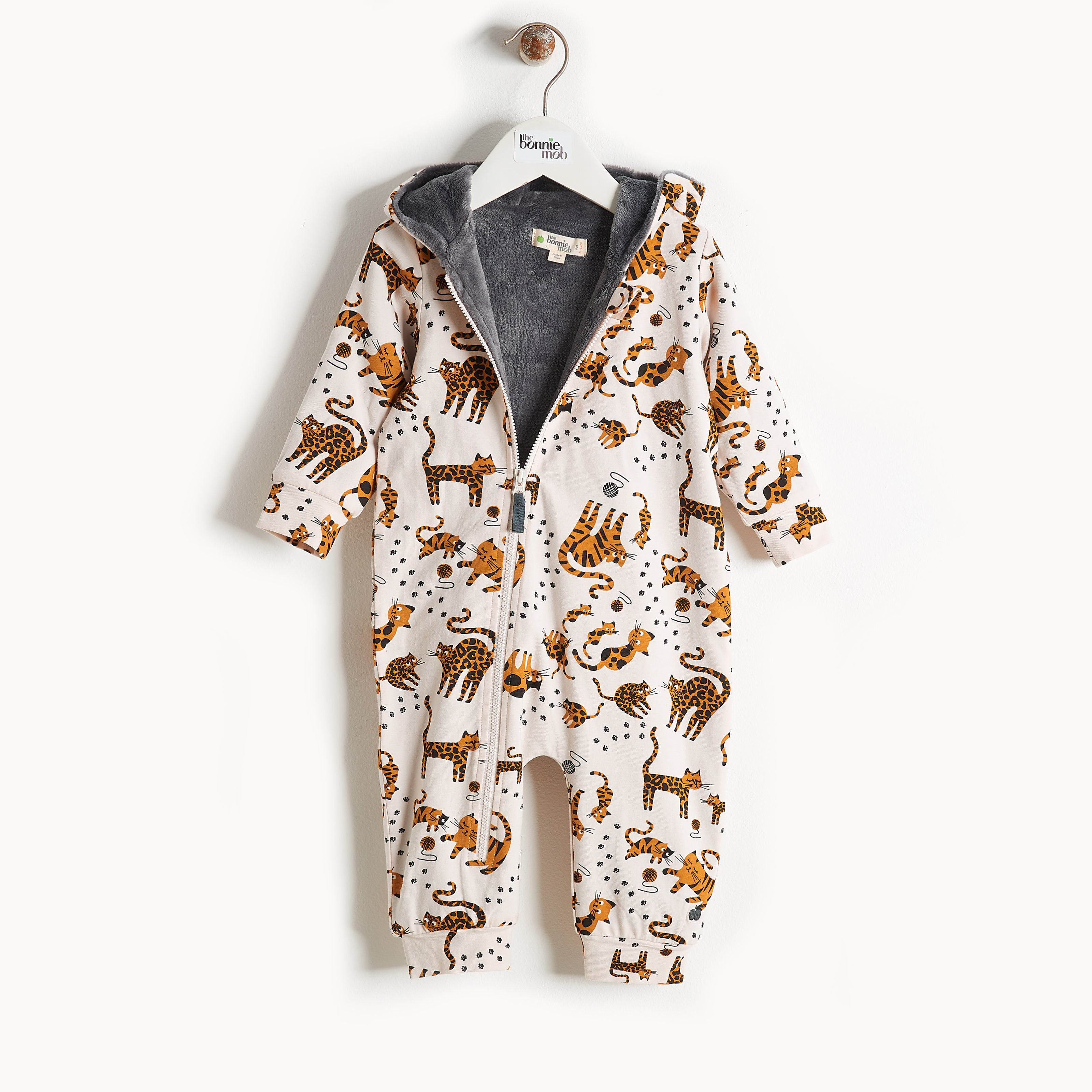 Bonnie Mob Hooded Onsie With Faux Fur Lining - Sand Cat Print