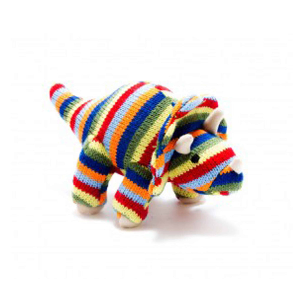 Knitted Small Rainbow Stripe Triceratops Rattle