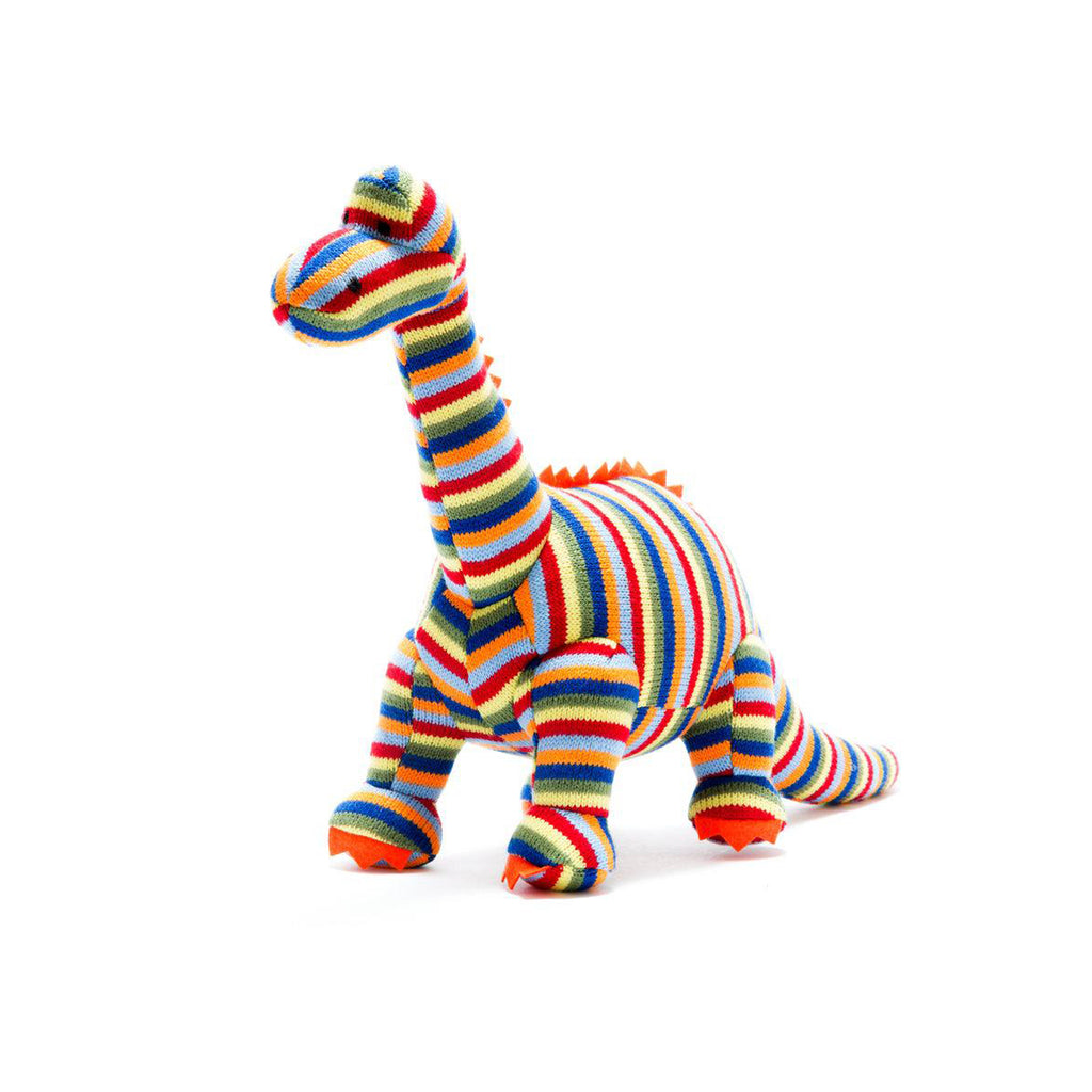 Knitted Small Rainbow Stripe Diplodocus Rattle