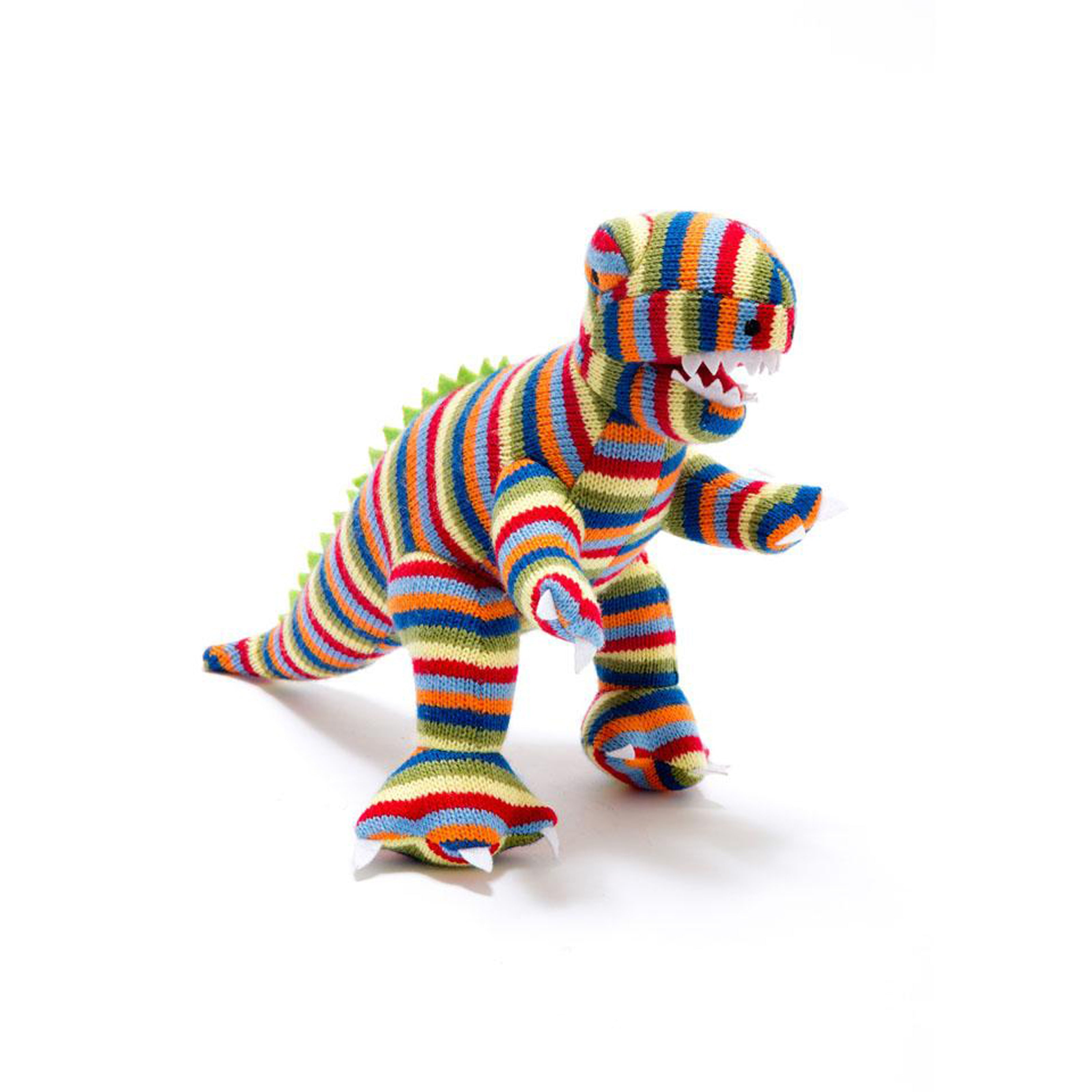 Knitted Small Rainbow Stripe T-Rex Rattle