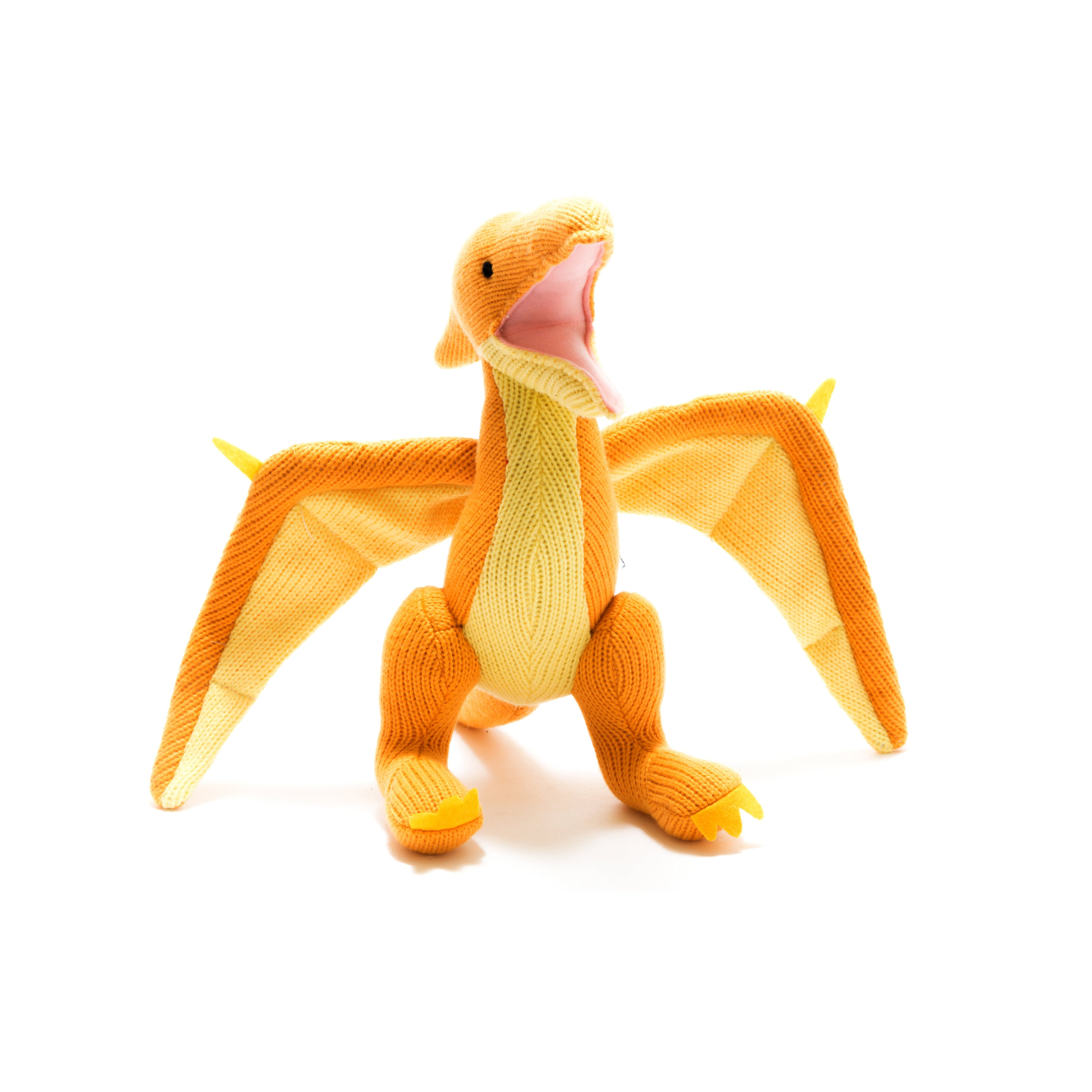 Knitted Orange/Yellow Pterodactyl Toy