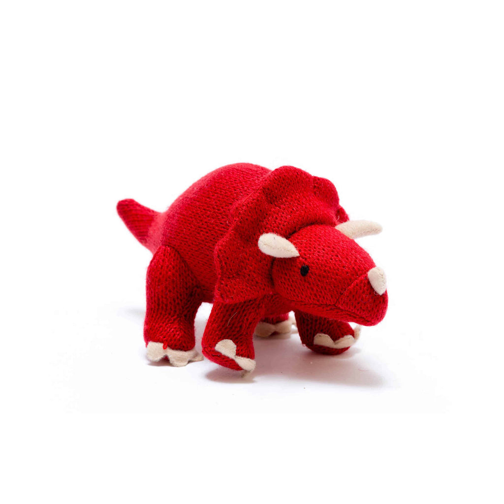 Knitted Small Red Triceratops Rattle