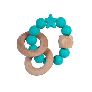 Nibbling Natural Wood Teething Rattle Toy - Turquoise
