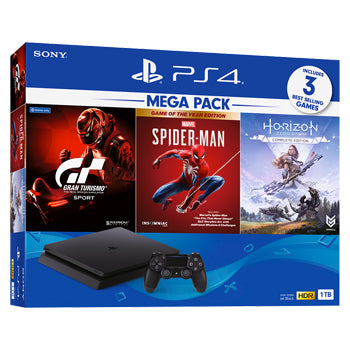 Sony PlayStation® PS4 Slim 1 TB MEGA PACK Bundle Gran Turismo Sport + Marvel's Spider-Man Game Of The Year Edition + Horizon Zero Dawn | Model: ASIA-00390