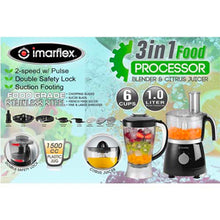Load image into Gallery viewer, Imarflex 1L 3-in-1 Food Processor, Blender and Citrus Juicer | Model: IFP-450M