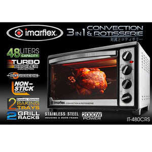 Imarflex 48L 3-in-1 Convection Oven & Rotisserie | Model: IT-480CRS