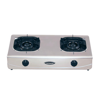 La Germania Double Burner Gas Stove (120mm Black Cast Iron, Stainless Steel) | Model: G900X