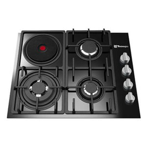 Tecnogas 60cm Built-in Hob (3 Gas Burners + 1 Electric Hot Plate, Tempered Black Glass) | Model: TBH6031CTG