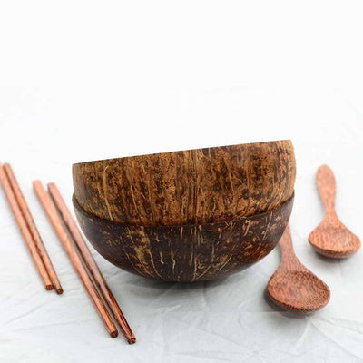 Coconut Bowl Set, Handmade (2 bowls, 2 spoons, 2 chopsticks) - FREE US Shipping - Green Goddess Entertaining