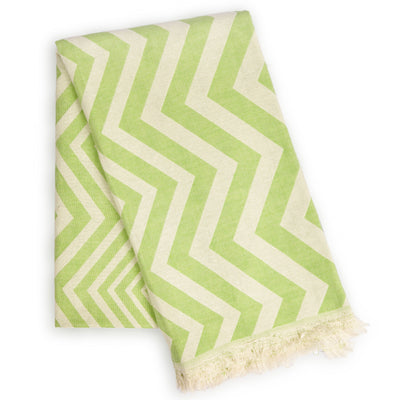 Mersin Eco-friendly Ultra Soft Chevron Towel - Green - Green Goddess Entertaining