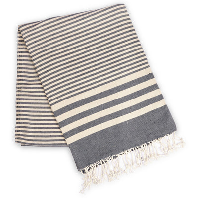 Fethiye Striped Ultra Soft Eco - Friendly Towel Navy Blue - Green Goddess Entertaining