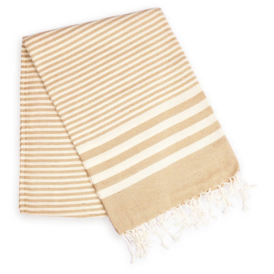Fethiye Striped Ultra Soft Eco-Friendly Turkish Towel - Beige - Green Goddess Entertaining