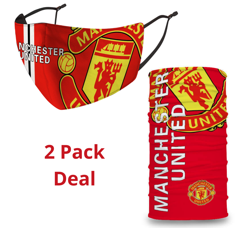 2 PACK Combo, Manchester United Face Mask with Adjustable Straps