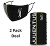 2 PACK Combo, Juventus Mask with Adjustable Straps