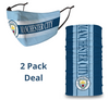 2 PACK Combo, Manchester City Mask with Adjustable Straps