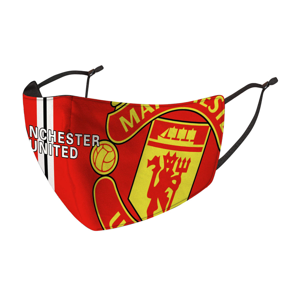 Manchester United Reusable Cotton Face Mask, Washable Face Mask with Adjustable Straps