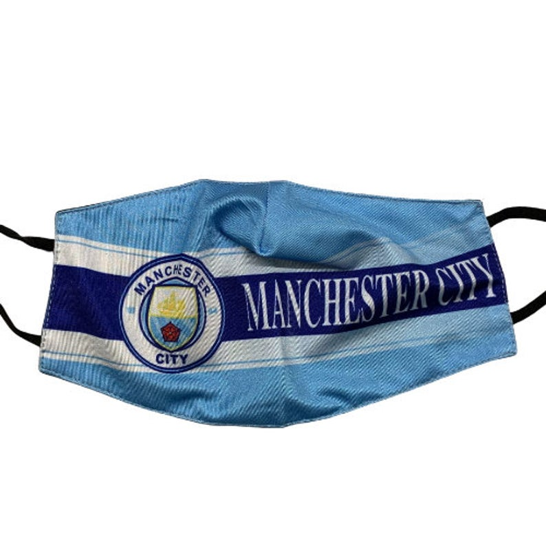 Manchester City Reusable Cotton Face Mask, Washable with Adjustable Straps