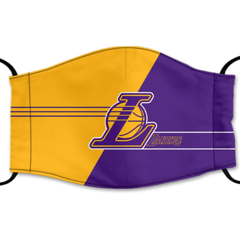 Los Angeles Lakers Reusable Cotton Face Mask, Washable Face Mask with Adjustable Straps