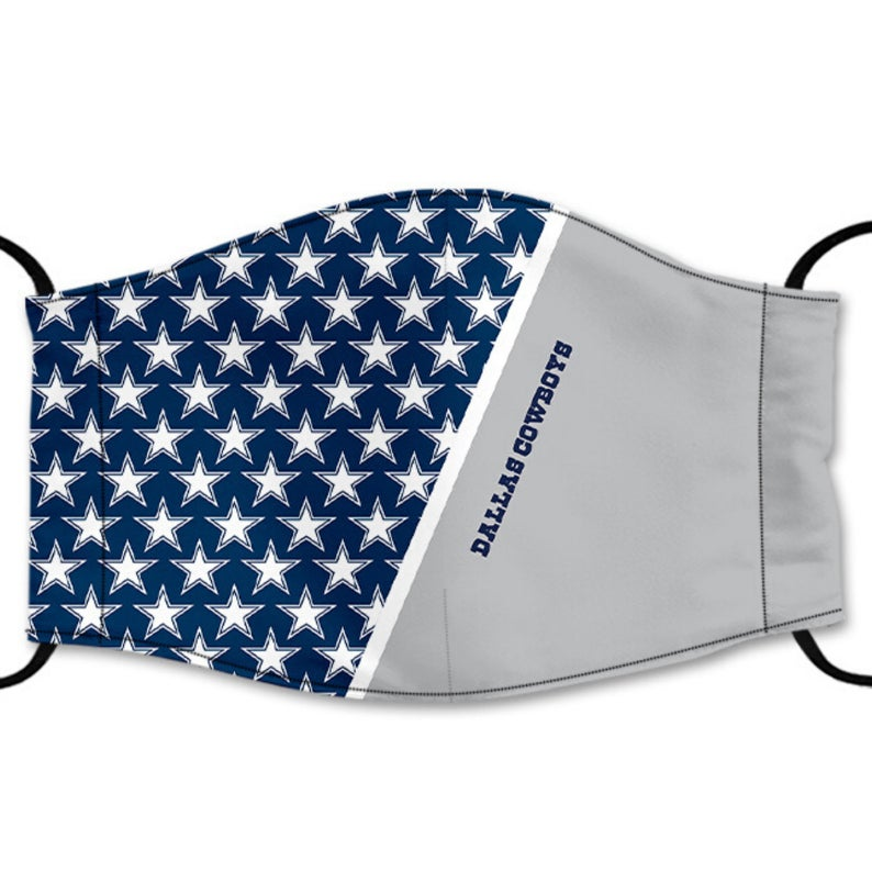 Dallas Cowboys Reusable Face Mask, Washable Cotton Face Mask with Adjustable Straps, Design B