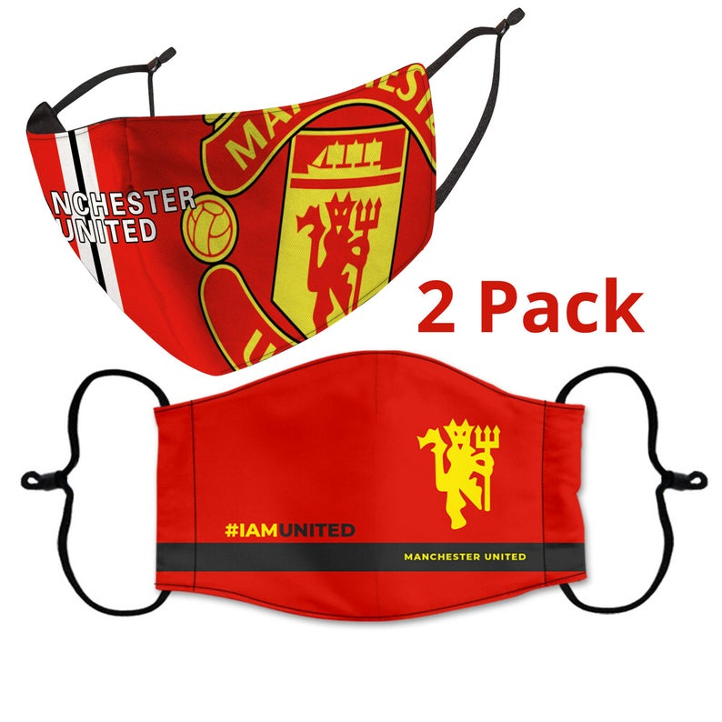 2 PACK COMBO, Manchester United Reusable Cotton Face Mask, Washable Face Mask with Adjustable Straps
