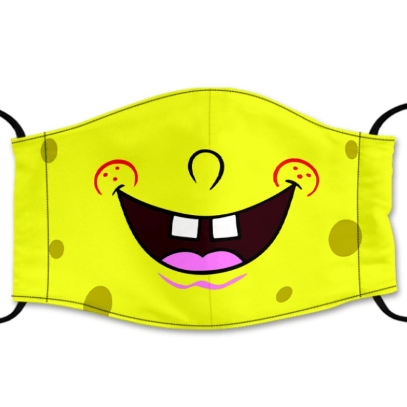 Sponge Bob Reusable Face Mask, Cotton Washable Face Mask with Adjustable Straps